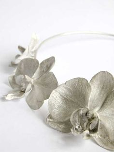 Necklace by NIC BLADEN-SA Jewelry.  Sterling silver choker made from 5 individual Phalaenopsis orchids.
