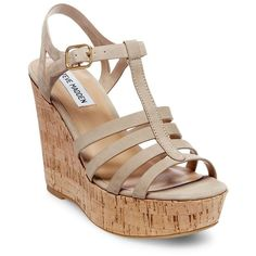 Steve Madden Nalla Wedge Fisherman Sandals ($89) ❤ liked on Polyvore featuring shoes, sandals, taupe, cork wedge heel sandals, taupe wedge sandals, wedge heel sandals, wedge sandals and ankle tie wedge sandals