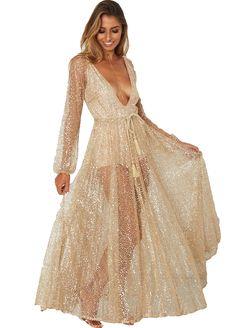3ba9cbbe96 Summer Women Gold Sequin Formal Long Dress Mesh Plunge Deep V Neck Dress  Long Sleeve Party Prom Gown Maxi Dress Vestidos