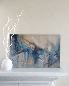 Icy Blue Original abstract artwork. Acrylic, graphite, and black wire on medium-density fiberboard. Black wire is wrapped around edges and secured through holes drilled in mdf. Dimensions: 16 x 24 MDF: 1/4 thick  All paintings have been finished with gloss varnish to protect against fading. *No hanging hardware included.