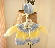 Blue & Yellow Boy or Girl Baby Sweater and Bonnet - Sized Newborn 0-3 Months - Adorable!