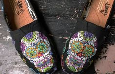 Custom Painted TOMS Dia de los Muertos Day of the Dead Sugar Skulls