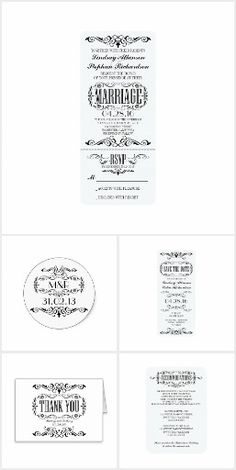 Chic Vintage Wedding Tickets Collection