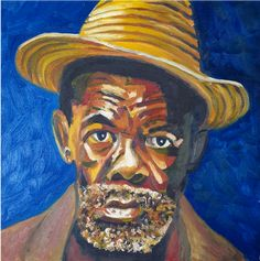 Old man with the hat Old Men, Wall Art, Hats, Painting, Hat, Painting Art, Paintings, Painted Canvas, Senior Guys