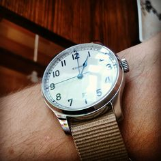 "Our ""Boring Beige"" strap on the #stowa marine automatic. Perfect balance for those colourful days!"