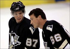 Sidney Crosby and Mario Lemieux. Lemieux's retired, but he still owns the Penguins, so no biggie. Pittsburgh Sports, Pittsburgh Penguins Hockey, Steelers Football, Ice Hockey Teams, Hockey Mom, Hockey Stuff, Nhl Games, Hockey Games, Mike Bossy