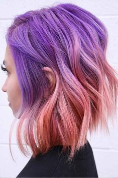 50 magical ways to style mermaid hair for every hair type Purple Hair hair magical Mermaid Style Type ways Hair Color Pink, Cool Hair Color, Pink Purple Hair, Purple Ombre, Bright Colored Hair, Unique Hair Color, Purple Balayage, Bright Hair Colors, Pink Eyes