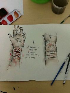 """""""Drawing for self harm/semicolon day. Depression Art, Law Of Attraction Love, Sad Drawings, Arte Obscura, Sad Art, My Demons, Graphic, Amazing Art"""