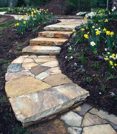 Flagstone walkway with edge detail | Sparks\' Landscape Concepts ...