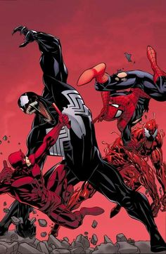 Venom & Carnage vs. Spider-Man & Daredevil lines by Dave Ross, colors by John Rauch