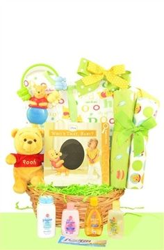 Winnie The Pooh Baby Gift Basket Boy or Girl Gift via Baby Owls Boutique. Click on the image to see more!