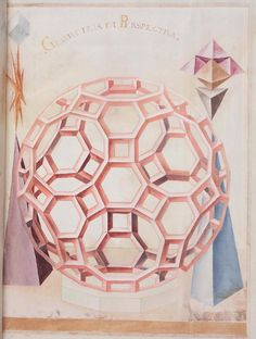 16th century anonymous paper manuscript containing sketches of geometric solids