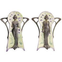Pair of Art Nouveau Secessionist Vases with Woman Reliefs - Tiffany WMF Era