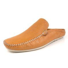 f10490b4cd255 Sapato Mocassim Mule Masculino Slip-on Khaata Confort Couro Diamante Whisky