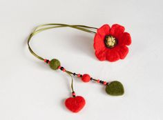 Needle Felted Wool Bookmark Red Poppy Flower