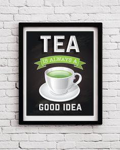 White Green Tea Kitchen Wall Art, Chalkboard Background Tea Kitchen Decor, Tea print, Tea Quote, Tea cup quote poster, Tea Kitchen Wall Art by BlackPelican