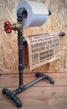 Industrial-Steampunk-Vintage-Toilet-Roll-Newspaper-Holder-Freestanding-UK-Made
