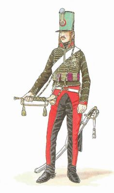 "French hussar trumpeter,  7th Régiment, Waterloo.  By 1815, French cavalry trumpeters wore these green ""livery"" jackets.  Notice all the ""N"" letters stitched into the pattern.   Note:  According to most reports, this was the only Hussar regiment on the field at Waterloo, stationed on the French right flank, the other four Hussar regiments engaged with the Prussians at Wavre."