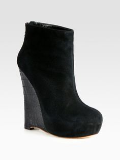 Alejandro Ingelmo Crosby Suede and Crocodile Print Leather Wedge Ankle Boots in Black | Lyst