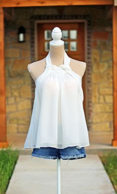 Already Calling You Mine Halter Top – White #SweetSouthernHoney