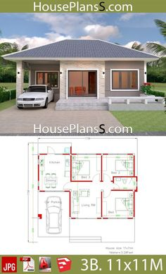 Simple House Design Plans with 3 Bedrooms Full Plans - House Plans - Small house design plans - Home Design 3d House Plans, Model House Plan, Simple House Plans, House Layout Plans, Simple House Design, House Layouts, Modern House Design, House Design Plans, Small Home Plans