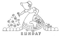 Days of the Week Sunbonnet Lady for Dish Towels 1558 Seven