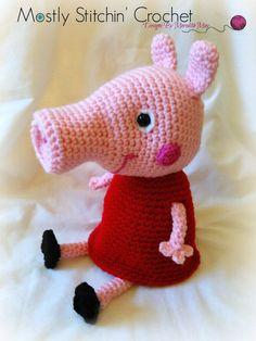 Peppa Pig Inspired CROCHET PATTERN PDF by MostlyStitchin on Etsy