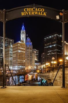 Strolling along the Chicago River at night. What could be better?