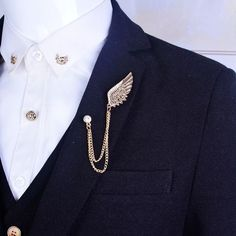 Gold Chains For Men Angel wings Brooch Mens suit collar crystal metal wings chain accessory personality buckle collar Brooch Pin for women gift gold(China (Mainland)) Brooch Men, Mode Kawaii, Metal Wings, Collar Clips, Collar Pin, Cheap Suits, Gold Chains For Men, Mens Chains, Men's Suits