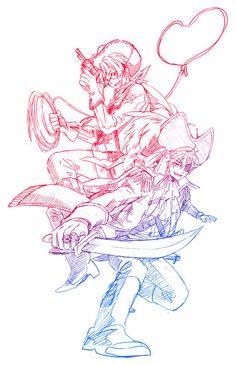 Hetalia- Cowboy!America and Pirate!England