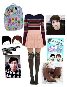 """Dan And Phil"" by vania-martin ❤ liked on Polyvore featuring A.N.D., Oasis, Sidewalk and DKNY"