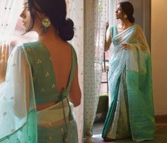 Blouse Back Neck Designs, Silk Saree Blouse Designs, Fancy Blouse Designs, Simple Sarees, Stylish Blouse Design, Designer Blouse Patterns, Stylish Sarees, Vogue, Diwali