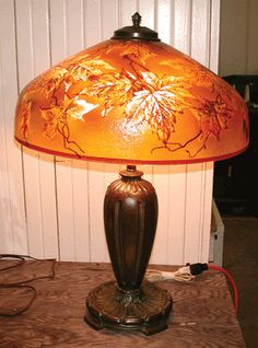 Pittsburgh Lamp of Autumn Leaves 9153 Antique Lamps, Vintage Lamps, Unique Lighting, Vintage Lighting, Old Lamp Shades, Fabric Embellishment, Painting Lamps, Paint Shades, I Saw The Light