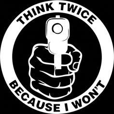 (2X) Think Twice Glock Guns 4X4 Decal Sticker Jeep 2A #VenomDesigns