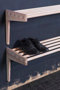 Shelf from Granit, Smålands Skinnmanufaktur & Formbruket Entryway Wall, Hallway Storage, Entry Hallway, Porch Storage, Built In Storage, Shoe Storage, Wardrobe Storage, Laundry Basket Dresser, Diy Shoe Rack