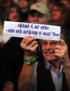 Twitter / TheObamaDiary: Loooove it! (A supporter holds ...