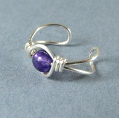 Genuine Amethyst Ear Cuff Sterling Silver by WireYourWorld on Etsy