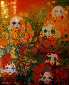 Padure cu entitati energetice – pictura pe panza #art #Painting #creative