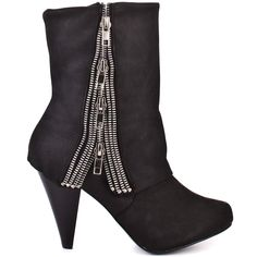 These boots will give you a good streak of luck.  Naughty Monkey's new style Luck features a soft black upper with a trickle of decorative silver zippers at the side of the shaft.  This flashy ankle boot showcase a well balanced 3 inch heel.