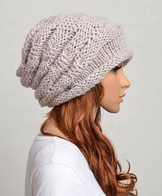 Mujer mano Slouchy sombrero hecho punto casquillo de la ropa