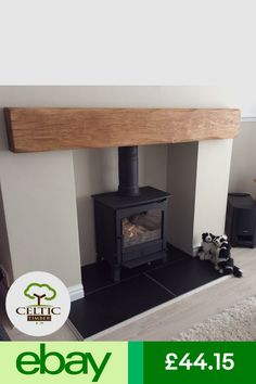 Mantelpieces & Surrounds Home, Furniture & DIY Fireplace Mantle Shelf, Oak Beam Fireplace, Floating Shelf Mantle, Oak Mantle, Floating Fireplace, Farrow And Ball Living Room, Living Room Grey, Log Burner Living Room, Mantle Piece
