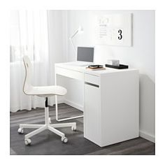 IKEA - MICKE, Desk, white, , It's easy to keep cords and cables out of sight but close at hand with the cable outlet at the back.You can mount the storage unit to the right or left, according to your space or preference.Air ventilates effectively around your computer or other equipment because of an opening in the back panel.Drawer stops prevent the drawers from being pulled out too far.Can be placed anywhere in the room because the back is finished.You can extend your work surface by…