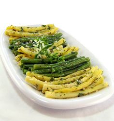 One Perfect Bite: 50 Women Game-Changers in Food - #6 Marcella Hazan - Cold Herb-Flavored Marinated Green Beans   This is the BEST recipe I have ever tasted for marinated green beans & it reminds me of the ones we had in Italy so much!   I tried for YEARS to duplicate those flavors & here it is!