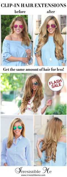 Make a dramatic hairstyle change with Irresistible Me 100% human Remy clip-in hair extensions. You can add length and volume in a matter of minutes and you get to choose the color, length and weight. Also try our wigs, ponytails, fantastic hair tools and hair care. Sign up and get up to 40% OFF with our FLASH SALE! (only until 07/20/2016)