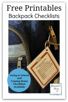 Free Printables Backpack Checklist- Going to School and Coming Home from JDaniel4's Mom