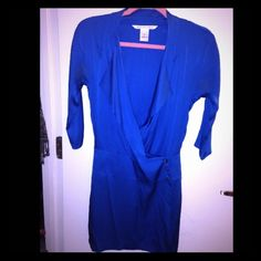 Long Sleeve Blue DVF dress Great little mini blue silk dress .  You can never go wrong with a DVF dress .  It was worn a couple of times, but in great condition .  I take care and love with my clothes .  Enjoy this stylish dress . Diane von Furstenberg Dresses Mini