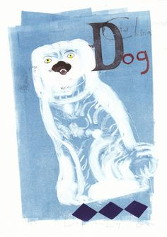 D for china Dog - no 3 - lithograph by Chloe Cheese