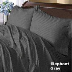 300TC Stripe Elephant Grey Full XL Flat Sheet & 2 Pillowcases asian sheets