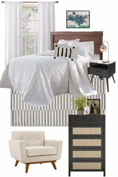 4 mood boards of bedroom design ideas for incorporating designer style for less using furniture and decor from Walmart.