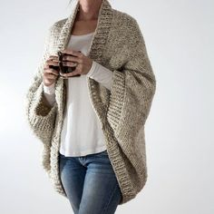 Knitting Pattern for Easy 18 Hour Cardigan - Cocoon Cardigan is made in about 1 . Knitting Pattern for Easy 18 Hour Cardigan - Cocoon Cardigan is made in about 1 . , Knitting Pattern for Easy 18 Hour Cardigan - Cocoon cardigan kni. Cardigan En Maille, Cable Knit Hat, Cocoon Cardigan, Oversized Cardigan, How To Purl Knit, Knit Purl, Plus Size Sweaters, Sweater Knitting Patterns, Knitting Sweaters
